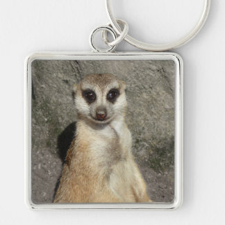 Meerkat Silver-Colored Square Keychain