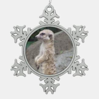 Meerkat Snowflake Pewter Christmas Ornament