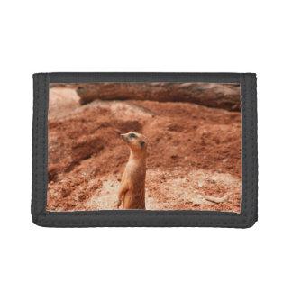 meerkat standing up left side meer cat animal tri-fold wallets