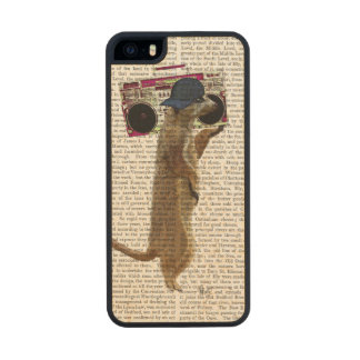 Meerkat with Boom Box Ghetto Blaster 2 Wood Phone Case For iPhone SE/5/5s
