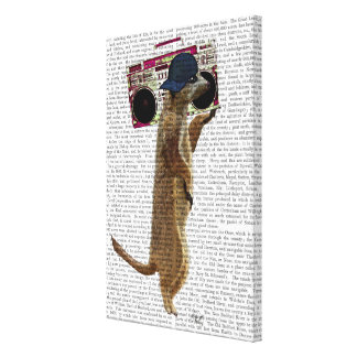 Meerkat with Boom Box Ghetto Blaster Canvas Print