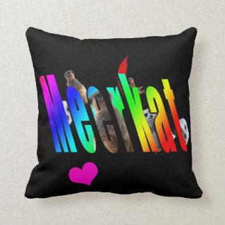 Meerkats And Logo Black Throw Cushion. Throw Pillow
