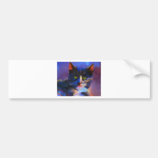 Meesha Bright and Colorful Cat art Bumper Sticker