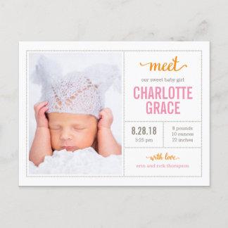 MEET HER Modern Birth Announcement