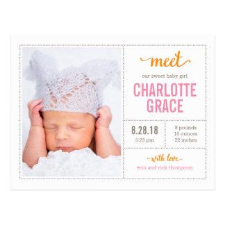 MEET HER Modern Birth Announcement Postcard