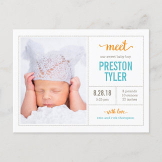 MEET HIM Modern Birth Announcement