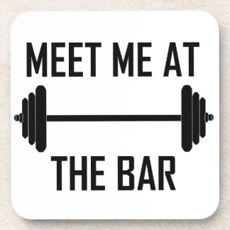 Meet me at the bar funny quote beverage coaster