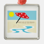 Meet Me At The Beach Square Metal Christmas Ornament