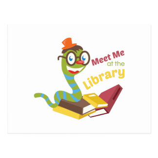 Meet me at the library postcard