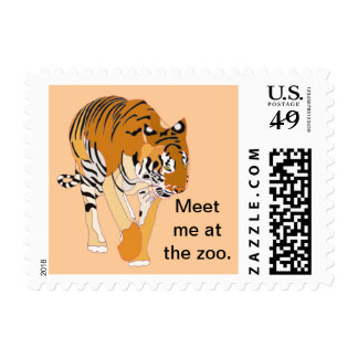 Meet me at the zoo, tiger birthday postage stamps
