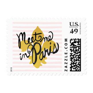Meet Me in Paris Black and Gold Postage