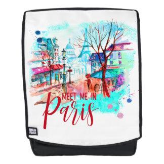 Meet Me in Paris France Eiffel Tower Watercolor Backpack