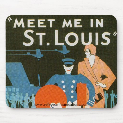 Meet me in St Louis Vintage Poster Detail Mouse Pad