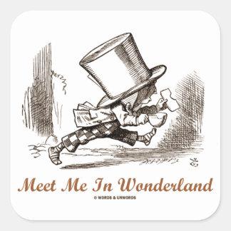 Meet Me In Wonderland (Mad Hatter Running) Square Sticker