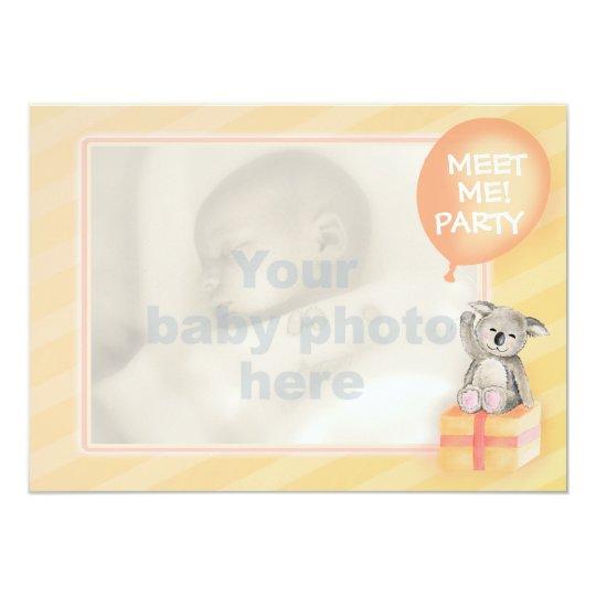 Meet me new baby announcement orange koala card