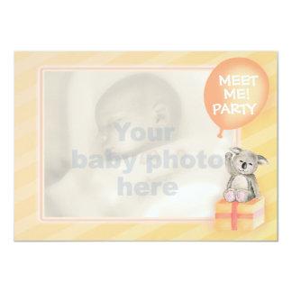 "Meet me new baby announcement orange koala card 4.5"" x 6.25"" invitation card"