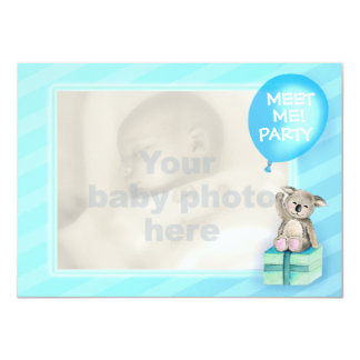 Meet me new baby boy koala party invite blue