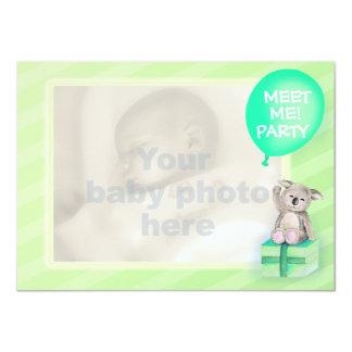 """Meet me new baby koala party invite mint green 4.5"""" x 6.25"""" invitation card"""