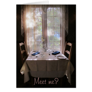 Meet Me?  Table for Two Greeting Card