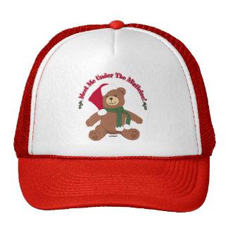 Meet Me Under The Mistletoe! Christmas Teddy Bear Trucker Hat