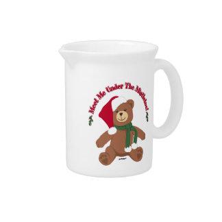 Meet Me Under The Mistletoe! Christmas Teddy Bear Beverage Pitchers