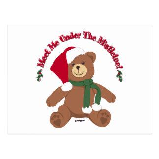 Meet Me Under The Mistletoe! Christmas Teddy Bear Postcard