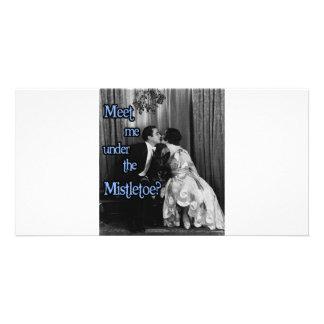 Meet me under the mistletoe custom photo card
