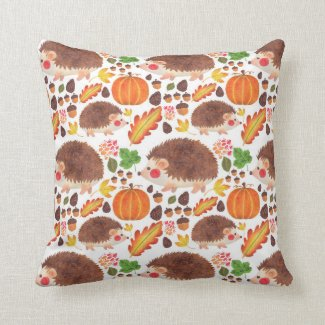 Meet Mr. Hedgehog in Autumn Print Throw Pillow
