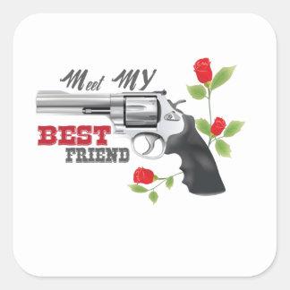 Meet my  best friend a gun with roses square sticker