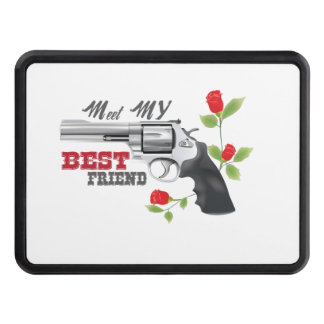 Meet my  best friend a gun with roses tow hitch cover