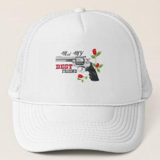 Meet my  best friend a gun with roses trucker hat