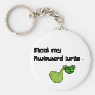 meet my turtle basic round button keychain