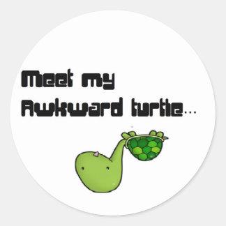 meet my turtle round sticker