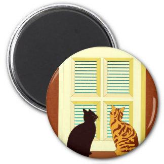 Meet the cats in window fridge magnets