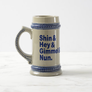 Meet the Dreidels: Shin & Hey & Gimmel & Nun. Beer Stein