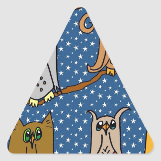 Meet the Owl Family Triangle Stickers