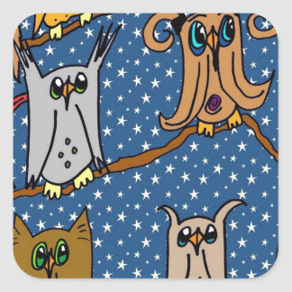 Meet the Owl Family Square Sticker