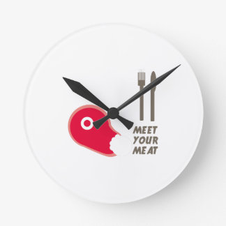 Meet Your Meat Round Wall Clocks