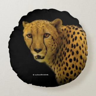 Meeting a Cheetah Round Pillow