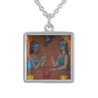 Meeting At Red Bishop Cafe Square Pendant Necklace
