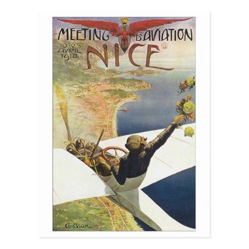 Meeting Aviation Nice Travel Poster Postcard