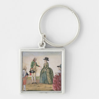 Meeting between Joseph II and Empress Silver-Colored Square Keychain