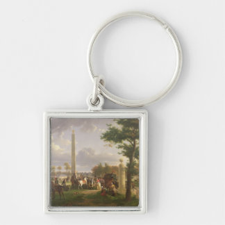 Meeting between Napoleon I  and Pope Silver-Colored Square Keychain