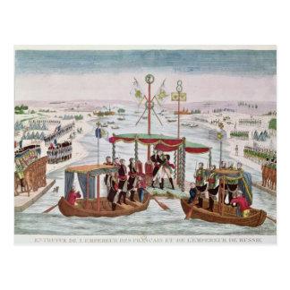 Meeting between Napoleon I & Tsar Alexander I Postcard