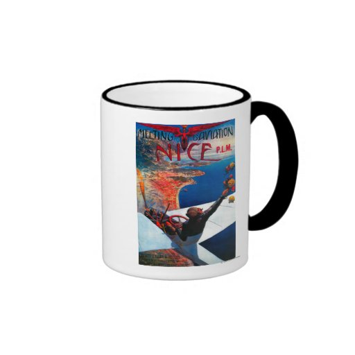 Meeting D' Aviation in Nice, France Poster Ringer Coffee Mug