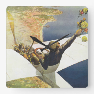 Meeting D'Aviation Nice Vintage Travel Poster Square Wall Clock