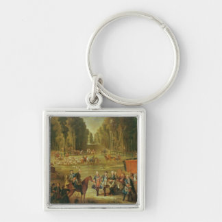 Meeting for the Puits-du-Roi Hunt at Compiegne Silver-Colored Square Keychain