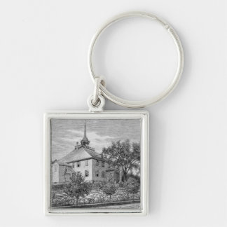 Meeting House at Hingham Silver-Colored Square Keychain