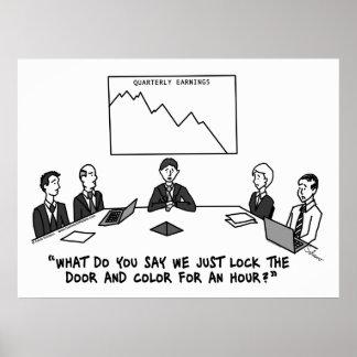 Meeting In Boardroom Black & White Framed Print