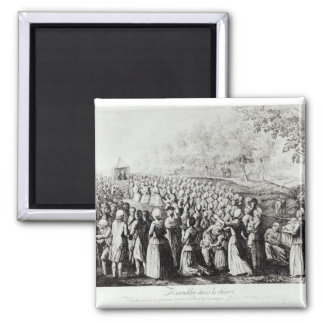 Meeting in the Desert, engraved by L. Bellotti 2 Inch Square Magnet
